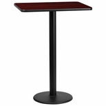 24'' x 30'' Rectangular Mahogany Laminate Table Top with 18'' Round Bar Height Base [BFDH-2430MAHREC-6BAR-TDR]