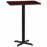 24'' x 30'' Rectangular Mahogany Laminate Table Top with 22'' x 22'' Bar Height Base [BFDH-2430MAHREC-2BAR-TDR]