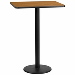 24'' x 30'' Rectangular Natural Laminate Table Top with 18'' Round Bar Height Base [BFDH-2430NATREC-6BAR-TDR]