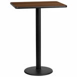 24'' x 30'' Rectangular Walnut Laminate Table Top with 18'' Round Bar Height Base [BFDH-2430WALREC-6BAR-TDR]