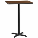 24'' x 30'' Rectangular Walnut Laminate Table Top with 22'' x 22'' Bar Height Base [BFDH-2430WALREC-2BAR-TDR]