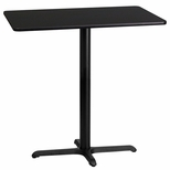 24'' x 42'' Rectangular Black Laminate Table Top with 22'' x 30'' Bar Height Base [BFDH-2442BKREC-3BAR-TDR]