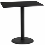 24'' x 42'' Rectangular Black Laminate Table Top with 24'' Round Bar Height Base [BFDH-2442BKREC-7BAR-TDR]