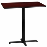 24'' x 42'' Rectangular Mahogany Laminate Table Top with 22'' x 30'' Bar Height Base [BFDH-2442MAHREC-3BAR-TDR]