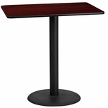 24'' x 42'' Rectangular Mahogany Laminate Table Top with 24'' Round Bar Height Base [BFDH-2442MAHREC-7BAR-TDR]