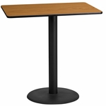 24'' x 42'' Rectangular Natural Laminate Table Top with 24'' Round Bar Height Base [BFDH-2442NATREC-7BAR-TDR]