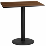 24'' x 42'' Rectangular Walnut Laminate Table Top with 24'' Round Bar Height Base [BFDH-2442WALREC-7BAR-TDR]