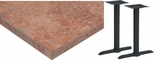 24'' x 48'' Laminate Table Top with Self Edge and 2 Bases - Bar Height [ATE2448-T0522-BAR-3M-SAT]
