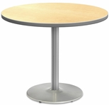 2500 Series Round Bar Height Table with Chrome Round Base - Fusion Maple Top and Gray Edge - 30''W x 30''D x 42''H [MG2543-61-242CR-MGI]