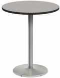 2500 Series Round Bar Height Table with Chrome Round Base - Gray Nebula Top and Black Edge - 30''W x 30''D x 42''H [MG2543-77-242CR-MGI]