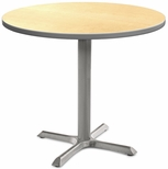 2500 Series Round Bar Height Table with Gray Pedestal Base - Fusion Maple Top and Gray Edge - 30''W x 30''D x 42''H [MG2543-61-142GY-MGI]