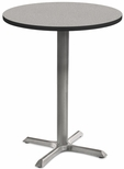 2500 Series Round Bar Height Table with Gray Pedestal Base - Gray Nebula Top and Black Edge - 30''W x 30''D x 42''H [MG2543-77-142GY-MGI]