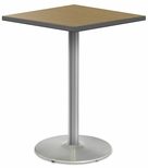 2500 Series Square Bar Height Table with Chrome Round Base - Sand Shoal Top and Gray Edge - 30''W x 30''D x 42''H [MG2511-80-242CR-MGI]