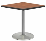 2500 Series Square Bar Height Table with Chrome Round Base - Wild Cherry Top and Black Edge - 30''W x 30''D x 42''H [MG2511-60-242CR-MGI]