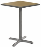 2500 Series Square Bar Height Table with Gray Pedestal Base - Sand Shoal Top and Gray Edge - 30''W x 30''D x 42''H [MG2511-80-142GY-MGI]