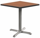 2500 Series Square Bar Height Table with Gray Pedestal Base - Wild Cherry Top and Black Edge - 30''W x 30''D x 42''H [MG2511-60-142GY-MGI]