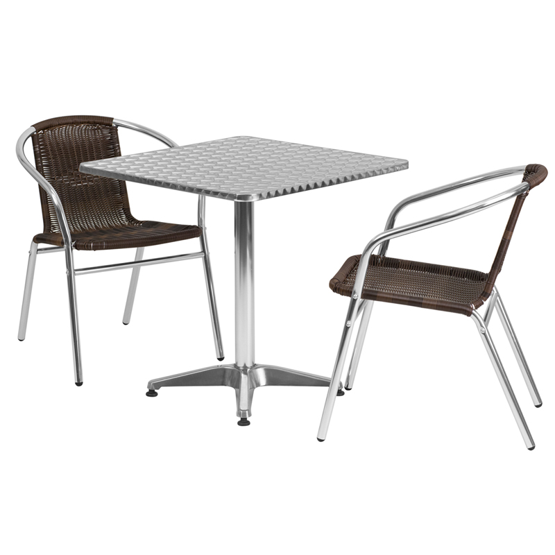 27.5\'\' Square Aluminum Indoor-Outdoor Table Set with 2 Dark Brown ...