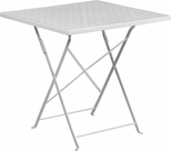 28'' Square White Indoor-Outdoor Steel Folding Patio Table [CO-1-WH-GG]