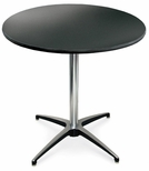 30'' Diameter Round Laminate Pedestal Table with Aluminum X-Base - 42''H [72010L-MCC]