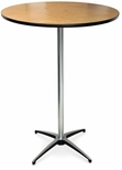 30'' Diameter Round Plywood Pedestal Table with Aluminum X-Base - 42''H [72010-MCC]