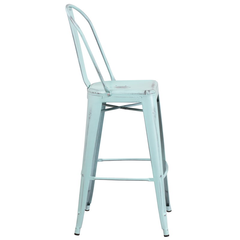 Click on a thumbnail to Enlarge  sc 1 st  RestaurantFurniture4Less.com & 30u0027u0027 High Distressed Green-Blue Metal Indoor-Outdoor Barstool with ... islam-shia.org