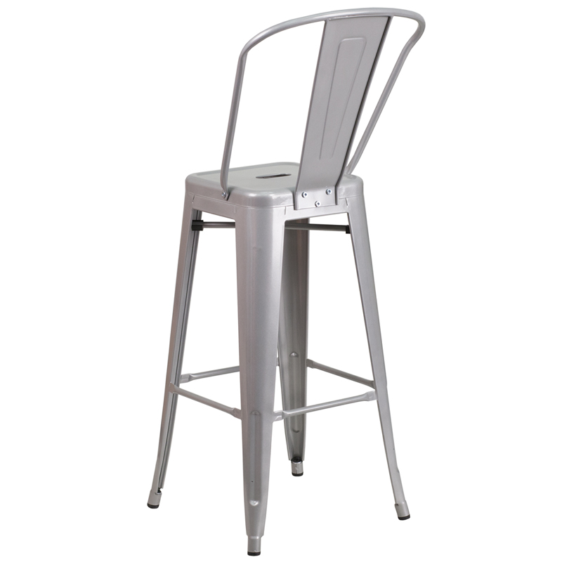 30u0027u0027 High Silver Metal Indoor-Outdoor Barstool with Back by Flash Furniture  sc 1 st  RestaurantFurniture4Less.com & 30u0027u0027 High Silver Metal Indoor-Outdoor Barstool with Back CH-31320 ... islam-shia.org
