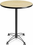 30'' Round Cafe Table - Oak with Black Base [CBLT30RD-OAK-MFO]