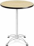 30'' Round Cafe Table - Oak with Chrome Base [CCLT30RD-OAK-MFO]