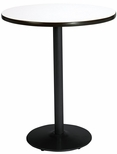 30'' Round Laminate Bistro Height Table with Crisp Linen Top - Black Round Base [T30RD-B1917-BK-CL-38-IFK]