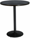30'' Round Laminate Bistro Height Table with Graphite Nebula Top - Black Round Base [T30RD-B1917-BK-GRN-38-IFK]