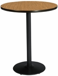30'' Round Laminate Bistro Height Table with Medium Oak Top - Black Round Base [T30RD-B1917-BK-MO-38-IFK]