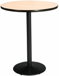 30'' Round Laminate Bistro Height Table with Natural Top - Black Round Base [T30RD-B1917-BK-NA-38-IFK]