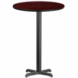 30'' Round Mahogany Laminate Table Top with 22'' x 22'' Bar Height Base [BFDH-30MAHRD-2BAR-TDR]