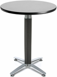 30'' Round Cafe Table with Metal Mesh Base - Gray Nebula [CMT30RD-GRYNB-FS-MFO]