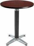 30'' Round Cafe Table with Metal Mesh Base - Mahogany [CMT30RD-MHGY-FS-MFO]