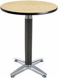 30'' Round Cafe Table with Metal Mesh Base - Oak [CMT30RD-OAK-FS-MFO]