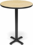 30'' Round Cafe Table - Oak Top with X-Style Base [XTC30RD-OAK-MFO]