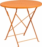 30'' Round Orange Indoor-Outdoor Steel Folding Patio Table [CO-4-OR-GG]
