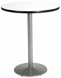 30'' Round Laminate Bistro Height Pedestal Table with Crisp Linen Top - Silver Round Base [T30RD-B1917-SL-CL-38-IFK]