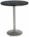 30'' Round Laminate Bistro Height Pedestal Table with Graphite Nebula Top - Silver Round Base [T30RD-B1917-SL-GRN-38-IFK]