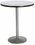 30'' Round Laminate Bistro Height Pedestal Table with Grey Nebula Top - Silver Round Base [T30RD-B1917-SL-GYN-38-IFK]