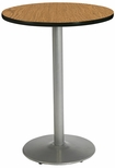 30'' Round Laminate Bistro Height Pedestal Table with Medium Oak Top - Silver Round Base [T30RD-B1917-SL-MO-38-IFK]