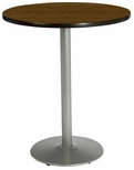 30'' Round Laminate Bistro Height Pedestal Table with Walnut Top - Silver Round Base [T30RD-B1917-SL-WL-38-IFK]