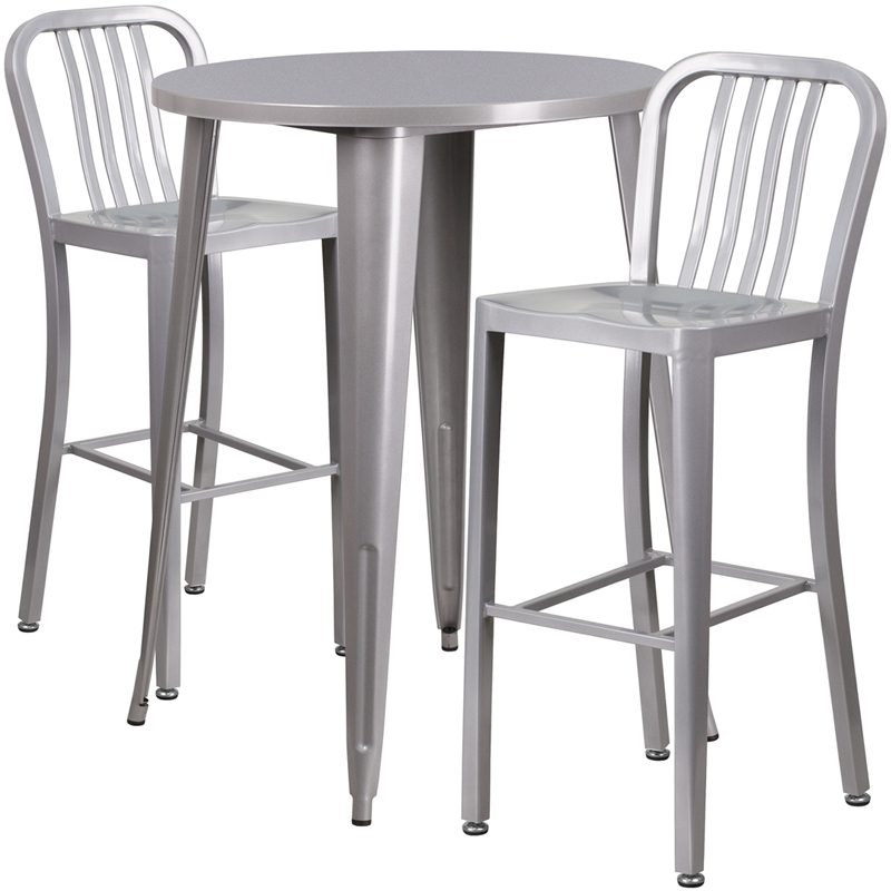 30 39 39 round silver metal indoor outdoor bar table set with for Html vertical table