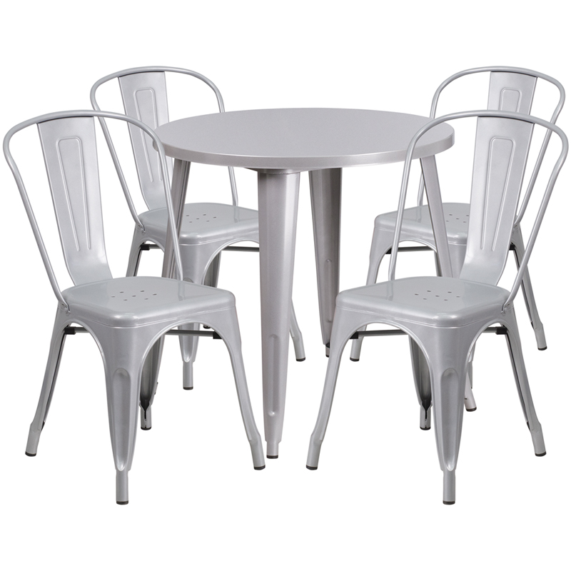 30 Round Silver Metal IndoorOutdoor Table Set with 4 Cafe