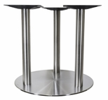 Brushed Stainless Steel 30'' x 28.375''H Tri Leg Round Table Base [4030-28-SS-TRI-PMI]