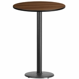 30'' Round Walnut Laminate Table Top with 18'' Round Bar Height Base [BFDH-30WALRD-6BAR-TDR]