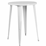 30'' Round White Metal Indoor-Outdoor Bar Height Table [CH-51090-40-WH-GG]