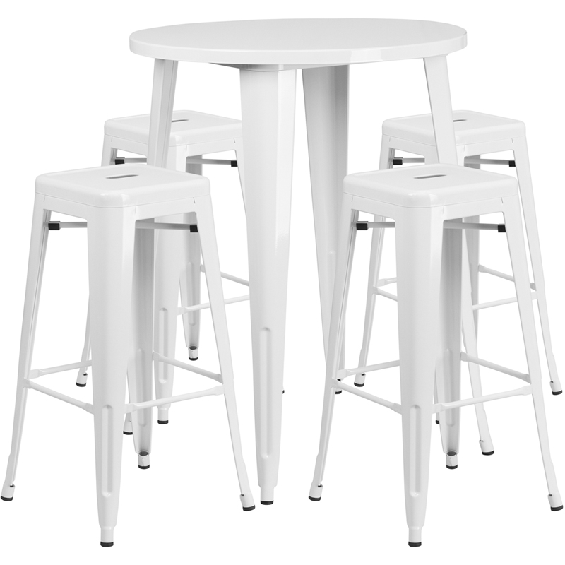 30 39 39 Round White Metal Indoor Outdoor Bar Table Set With 4
