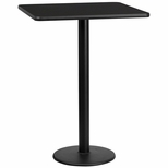 30'' Square Black Laminate Table Top with 18'' Round Bar Height Base [BFDH-3030BKSQ-6BAR-TDR]